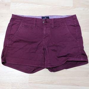 American Eagle Maroon Stretchy Shorts